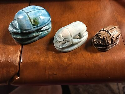 3 EGYPTIAN Blue GREEN brown stone FAIENCE BUTTON toggle slide SCARABs