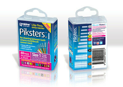 New Piksters Interdental Brush 40 Pack Size 1 Purple Handle Floss Teeth Cleaning