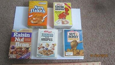 Lot of 5 mini cereal boxes-3 Kellogg 1980+1987,  1985 Ralston,1987 General Mills