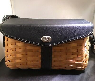 Longaberger Black Leather Hostess Basket Purse Shoulder Bag Retired Design