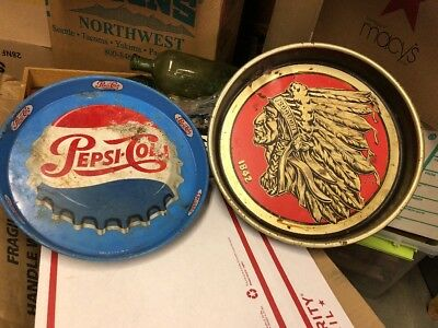 VINTAGE ORIGINAL LOT PEPSI COLA Iroquois Indian Head Beer METAL SERVING TRAYs