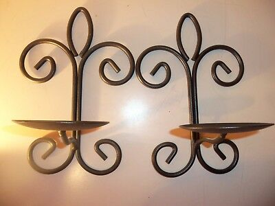 2 Wrought Iron Metal Scroll Design Hearthside Wall Sconce Candle Holders