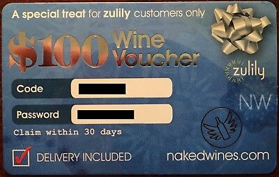 $100 NAKED WINES Voucher nakedwines.com Delivery Wine (exp. 2/28/18)