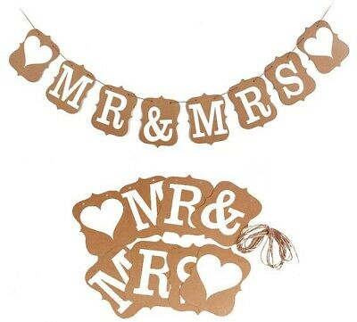 Vintage Kraft Mr&Mrs Party Sign Wedding Bunting Banner Garland Photo Props BN011