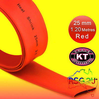 HEAT SHRINK 25 mm TUBE SHRINK TUBING SLEEVE RED 1.25 METER  LENGTH FREE POST