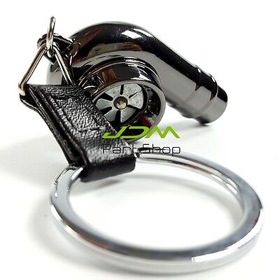 Black Spinning Turbo Bearing Keyring Turbo Charger Key Chain Gift Sound Whistle