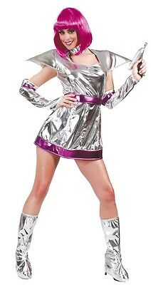 Ladies Sexy Silver Space Cadet Astronaut Fancy Dress Costume Outfit UK 14-16-18