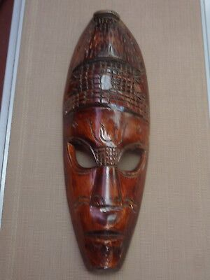 Vintage Hand Carved Wooden Tribal Mask Pacific Islands