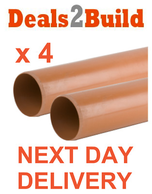 4 x 110mm Plain Ended Underground Drainage Pipe - FREE NEXT DAY DELIVERY