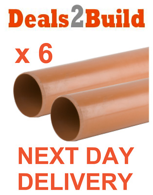 6 x 110mm Plain Ended Underground Drainage Pipe - FREE NEXT DAY DELIVERY