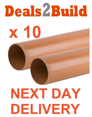 10 x 110mm Plain Ended Underground Drainage Pipe - FREE NEXT DAY DELIVERY
