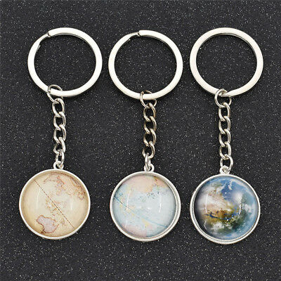 World Map Glass Keyring Cabochon Alloy Long Chain Women's Fashion Gifts Hot Sale