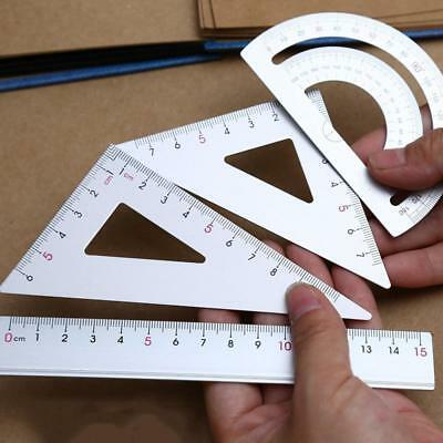 4Pcs Drawing&School Supplies Set Square Triangle Ruler Metal Protractor FEVD