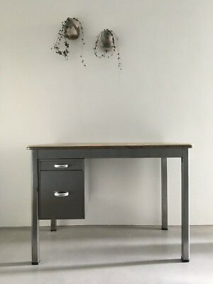 Mid-century steel and black formica top desk | Vintage industrial table