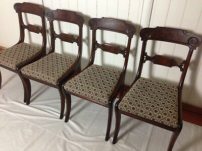 Set Four Regency Mahogany Sabre Leg Chairs
