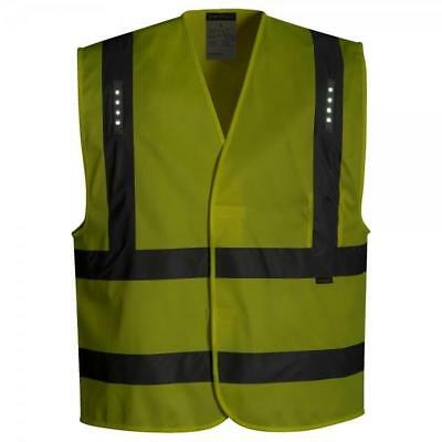 Yellow LED Lights Hi Vis High Viz Visibility Safety Vest Waistcoat Jacket Safety