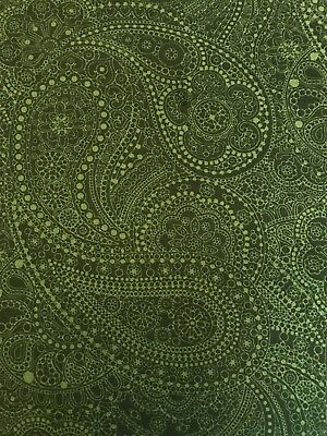 Dark Green FQ Fat Quarter Fabric Paisley Henna Patterns 100% Cotton RARE