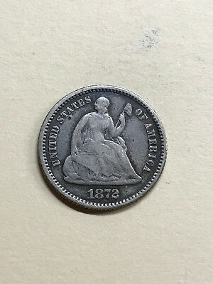 1872 P Seated Liberty Half Dime. Nice Coin!! Flat color. Even Wear