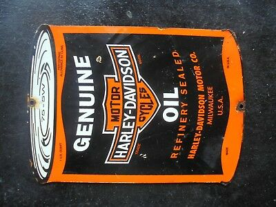 Vintage Harley Davidson Motorcycle Oil porcelain sign Milwaukee Wisc scooter can