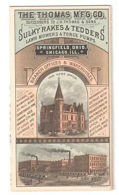 Antique 14-Panel Trade Card Thomas Sulky Rakes & Tedders Springfield, O Offices