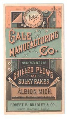 1885 8-Panel Trade Card Gale Chilled Plows & Sulky Rakes Albion, Mi/new Haven Ct
