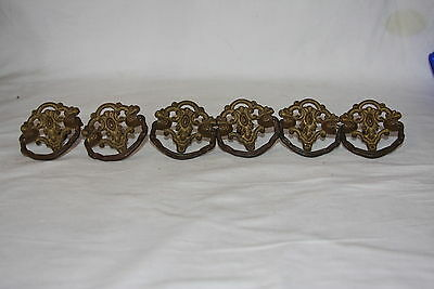 Antique Set of 6 Solid Brass Decorative Bureau Dresser Drawer Knob Pulls Handles