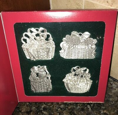 Longaberger Pewter Christmas Basket Ornaments 2001-2004 New In Box!