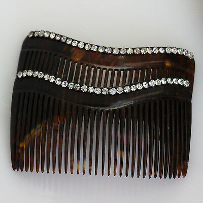 2 Vintage Rhinestone Hair Combs, Faux Tortoise Shell Color
