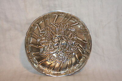 Atq Sterling Silver S Kirk & Sons #431 Repousse Flowers Fruit Berry Footed Bowl