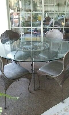 Antique Vintage Wicker & Wrought Iron Table Glass Four Leather Seat Chairs - EUC