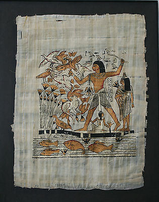 Hand-painted EGYPTIAN PAPYRUS Paper original ART Coppers Golds Blacks fish birds