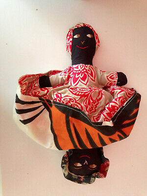 """VINTAGE TOPSY TURVY HAND MADE CLOTH BLACK/AFRICAN AMERICAN DOLL 12"""" Tall"""