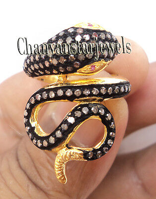 Antique/Vintage Style Snake 1.25Ct Rose Cut Diamond Sterling Silver Ring @CVS504