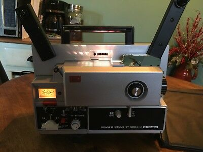 ELMO ST-600 D M 2-Track Super 8mm Sound Movie Projector 115V w/ Dust Cover