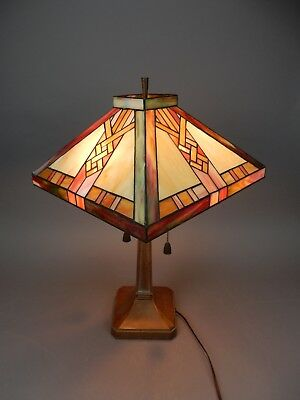 Vintage Arts and Crafts slag glass  Lamp  24 inches.