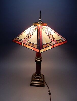 Vintage Arts and Crafts slag glass  Lamp  28 inches.