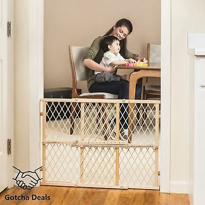 Baby Wood Gate With Position Lock Child Pet Dog Cats Safety Fence Fast Shipping