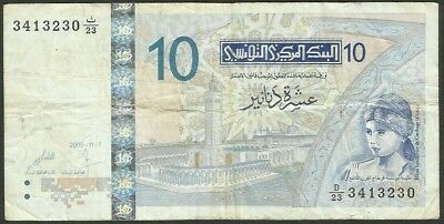 Tunisia Pick 90 - 10 Dinars in used condition (rb)