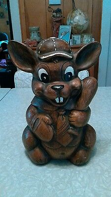 Vintage Treasure-craft baseball bunny cookie jar.
