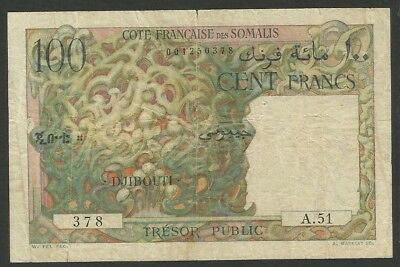 French Somaliland Pick 26 - 100 Francs in very used condition (rb)