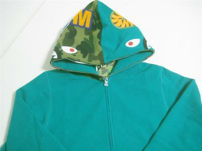 6c0844ff653f A BATHING APE SHARK FULL ZIP HOODIE WGM green 18ss bape new made in Japan  Medium