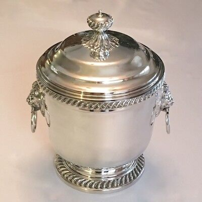 Large VTG Silver Lidded Ice Bucket with Lions Head Handles - Excellent Condition