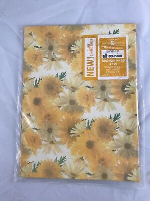 VINTAGE Wrapping Paper GIFT WRAP Yellow Daisies All Occasion 1 giant sheet NIP