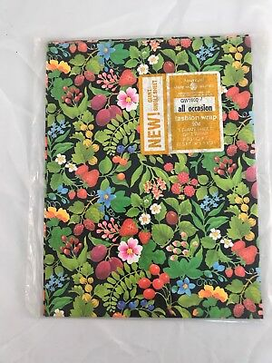 VINTAGE Wrapping Paper GIFT WRAP Fruit n Flowers All Occasion 1 giant sheet NIP