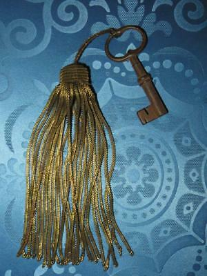 Large French Antique Gilt Metal Thread Key Tassel with Key.... 1870/80s