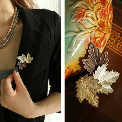 Chic Maple Leaf Scarf Shawl Safety Pin Brooch Sweater Clip Vintage Jewelry DOE5G