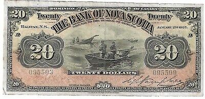 1925 $20 Twenty Dollar Note The Bank Of Nova Scotia Dominion Of Canada