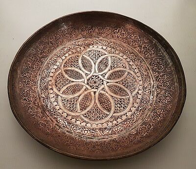 Antique 19Th Century Persian Qajar Islamic Hand Chased And Signed Copper Plate