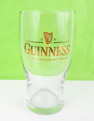 Guinness Draught 1759 Pint Beer Glass With Gold Detail 6.5 Inches Tall