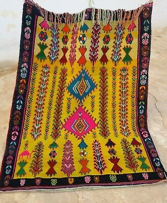 Old Moroccan Rug Berber Carpet Vintage Hand Antique Azilal Very Woven Handmade